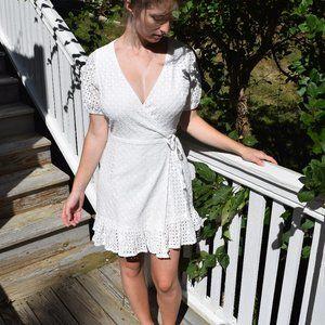 White Fashion Union broderie anglaise wrap dress